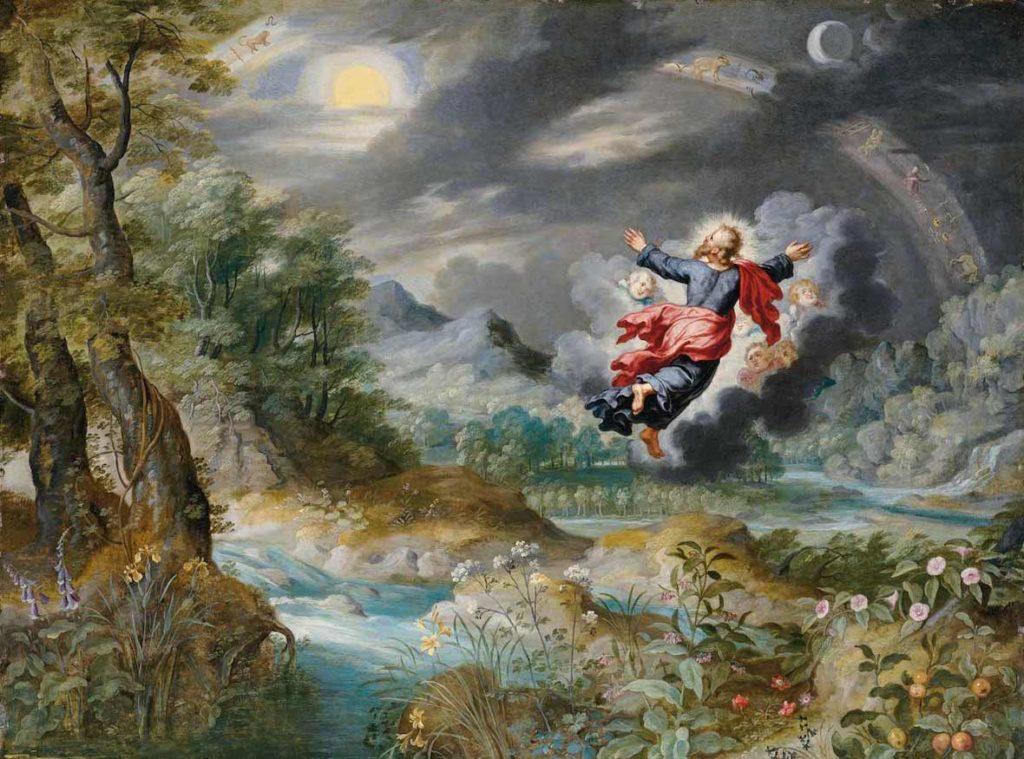 Jan BRUEGHEL II, Dieu créant le Soleil, la Lune et les étoiles dans le firmament, XVIIe s., coll. particulière.
